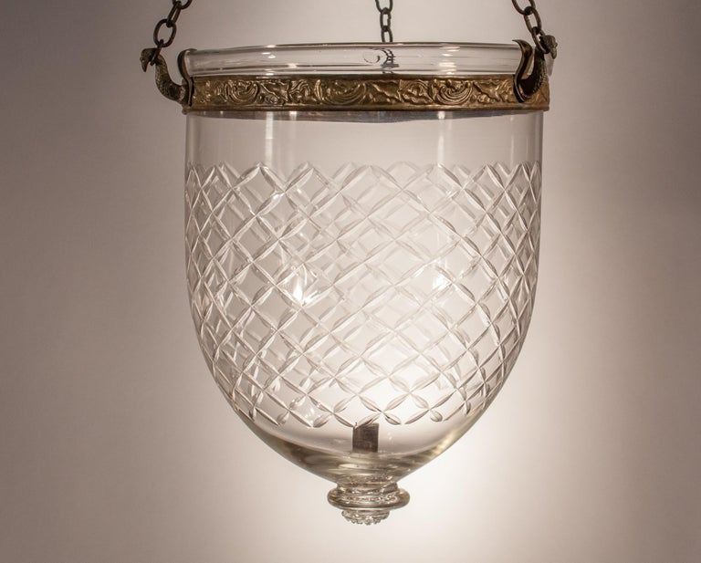 Bell Jar Lantern with Cut Glass Etching For Sale 3