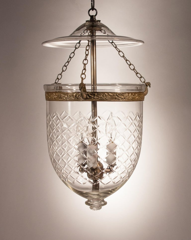 High Victorian Bell Jar Lantern with Cut Glass Etching For Sale