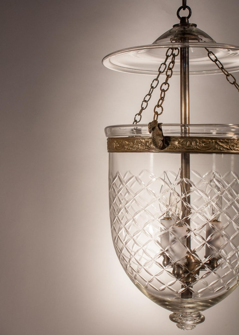 English Bell Jar Lantern with Cut Glass Etching For Sale