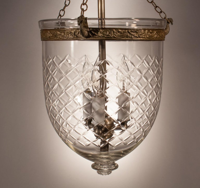 Embossed Bell Jar Lantern with Cut Glass Etching For Sale