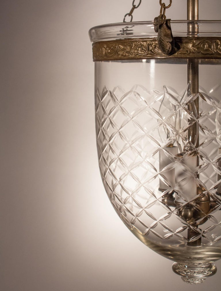 Bell Jar Lantern with Cut Glass Etching In Excellent Condition For Sale In Shelburne Falls, MA