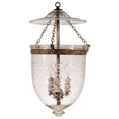 Bell Jar Lantern with Cut Glass Etching