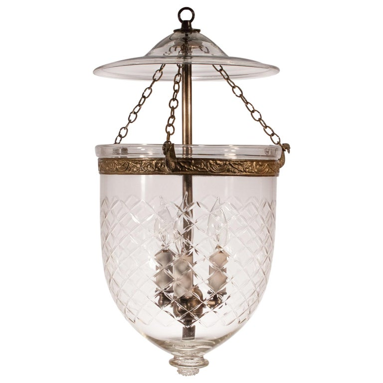 Bell Jar Lantern with Cut Glass Etching For Sale