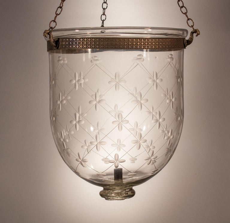 Bell Jar Lantern with Trellis Etching For Sale 4