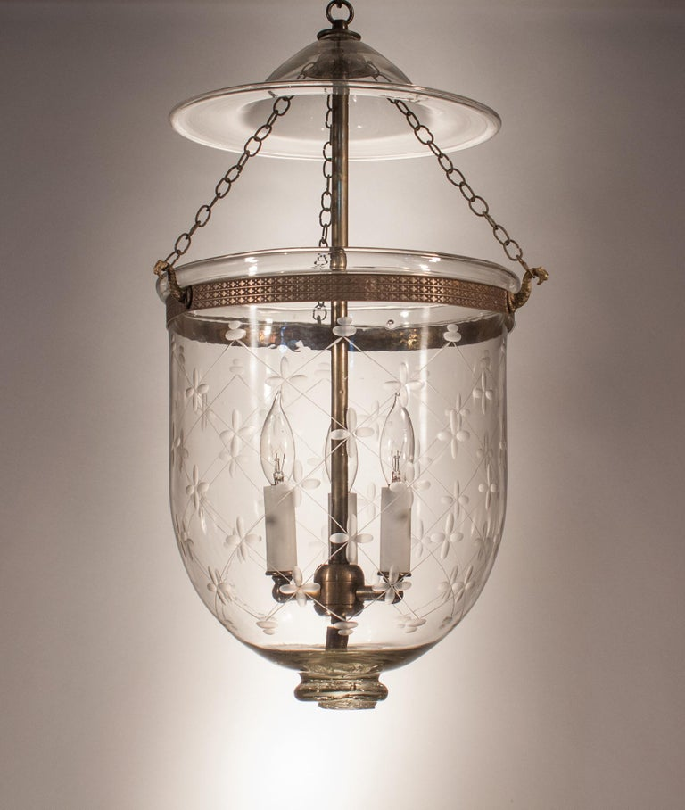 High Victorian Bell Jar Lantern with Trellis Etching For Sale