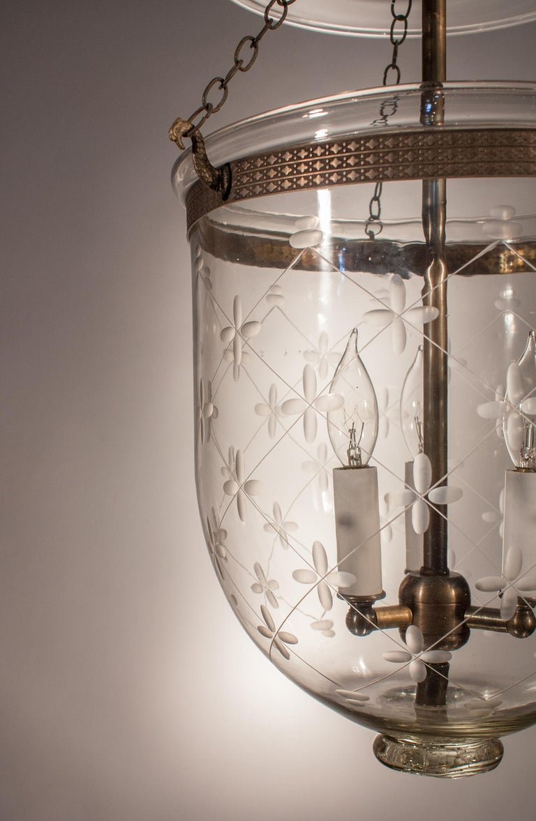 English Bell Jar Lantern with Trellis Etching For Sale