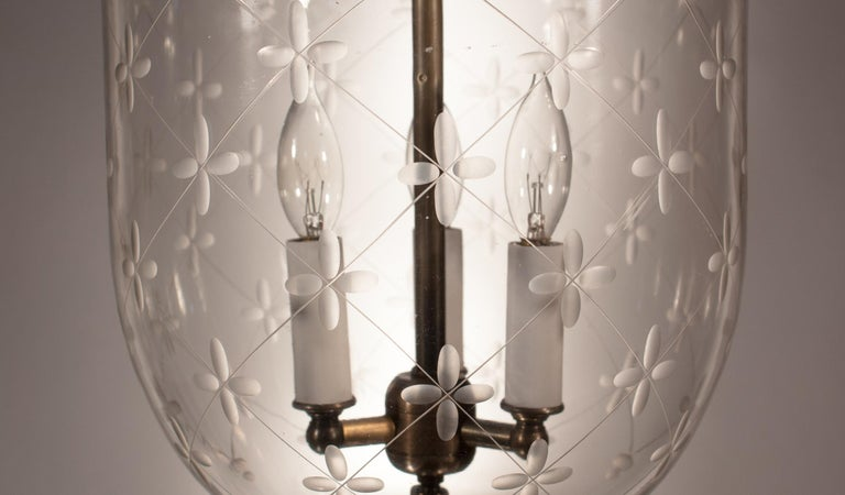 Blown Glass Bell Jar Lantern with Trellis Etching For Sale