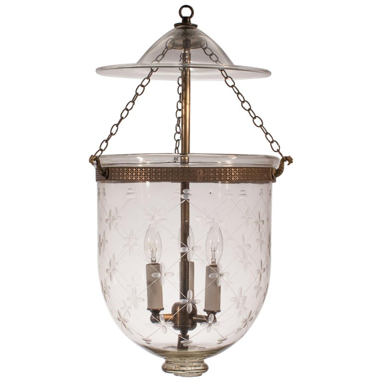 Bell Jar Lantern with Trellis Etching For Sale