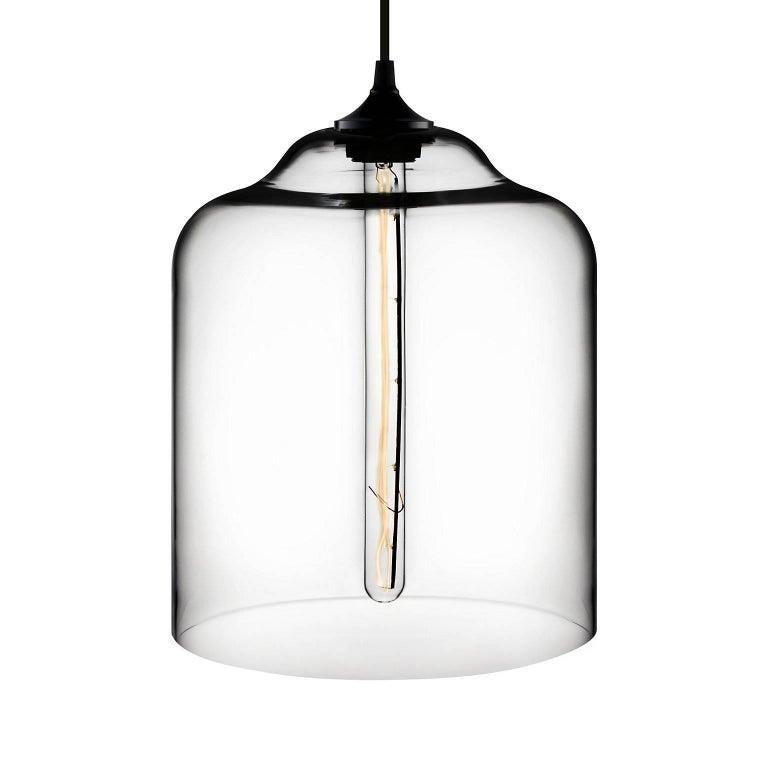 American Bell Jar Plum Handblown Modern Glass Pendant Light, Made in the USA For Sale
