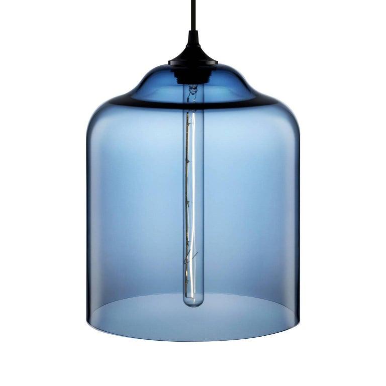 Bell Jar Plum Handblown Modern Glass Pendant Light, Made in the USA For Sale 1