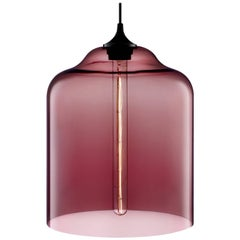 Bell Jar Plum Handblown Modern Glass Pendant Light, Made in the USA