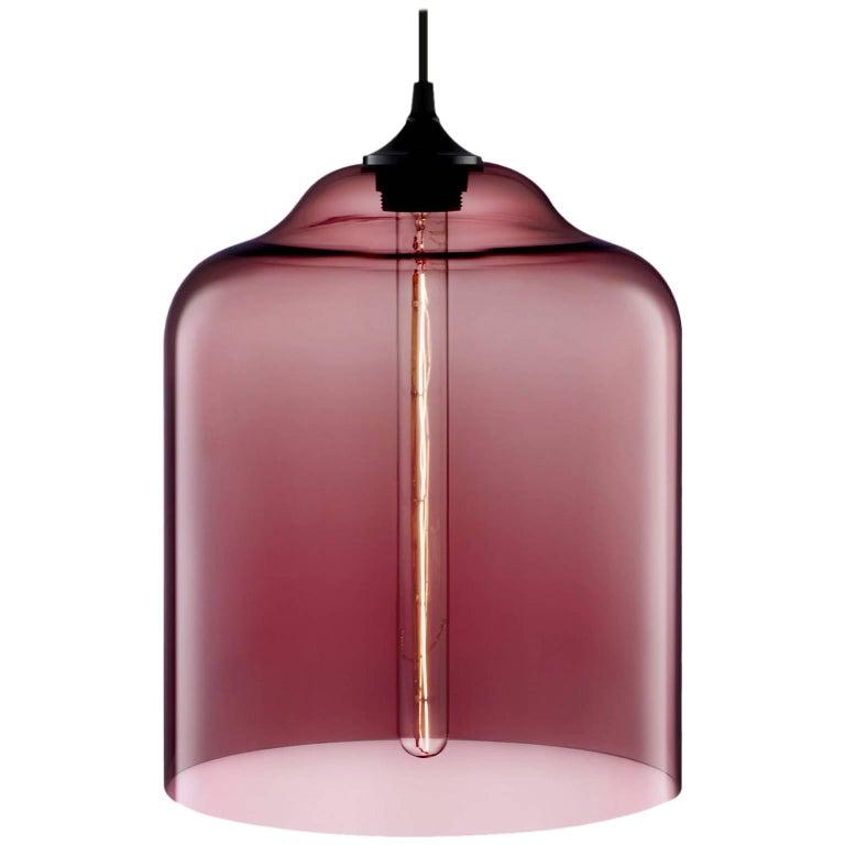 Bell Jar Plum Handblown Modern Glass Pendant Light, Made in the USA For Sale
