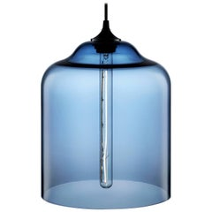 Bell Jar Sapphire Handblown Modern Glass Pendant Light, Made in the USA