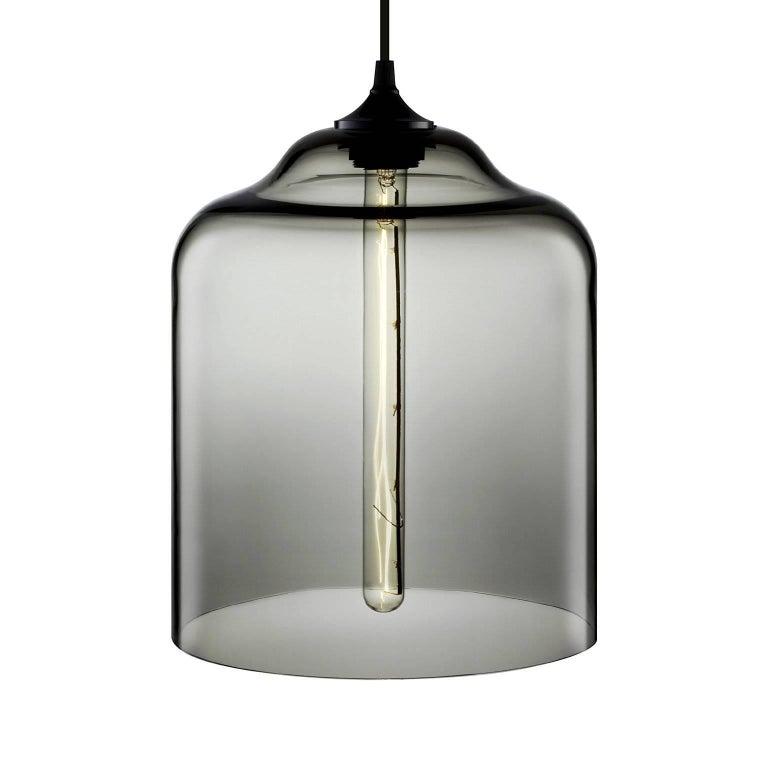 American Bell Jar Smoke Handblown Modern Glass Pendant Light, Made in the USA For Sale