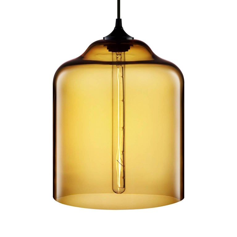 Contemporary Bell Jar Smoke Handblown Modern Glass Pendant Light, Made in the USA For Sale