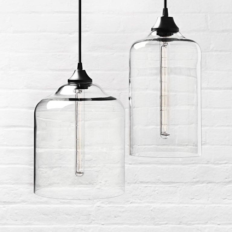 Bell Jar Smoke Handblown Modern Glass Pendant Light, Made in the USA For Sale 1