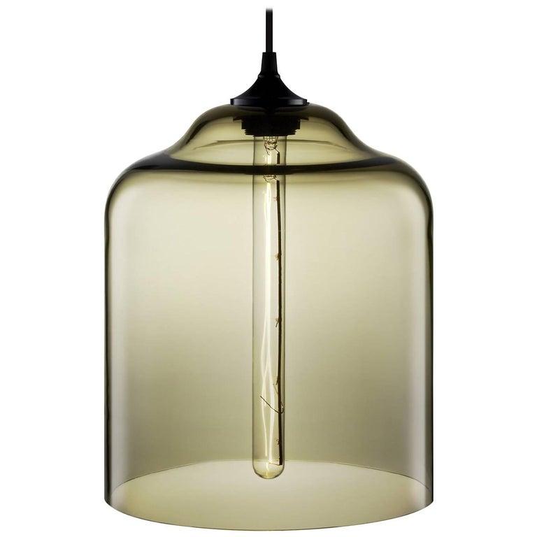 Bell Jar Smoke Handblown Modern Glass Pendant Light, Made in the USA 1