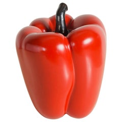 Bell Pepper, Red Lacquer by Robert Kuo, Hand Repousse, Limited Edition