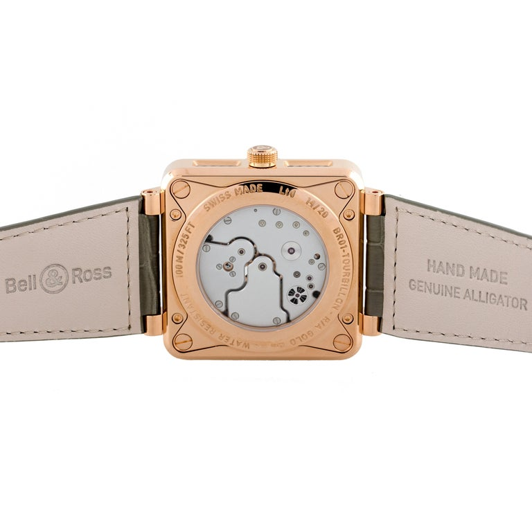 Bell & Ross 18 Karat Rose Gold BR01 Aviation Tourbillon Watch In New Condition For Sale In Boca Raton, FL