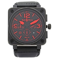 Bell & Ross Aviation Chronograph Steel PVD Red Dial Automatic Watch Br01-94-S