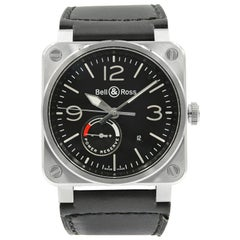 Bell & Ross Aviation Power Reserve Black Dial Steel Automatic Mens Watch BR03-97