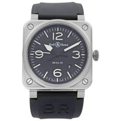 Bell & Ross Aviation Stainless Steel Black Dial Automatic Men's Watch BR03-92-S