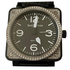 Bell & Ross BR 01-92 in Steel with Diamond Bezel on Black Leather Strap
