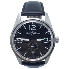 Bell & Ross BR123 Officer Black Dial Stainless Steel Watch Box and Papers