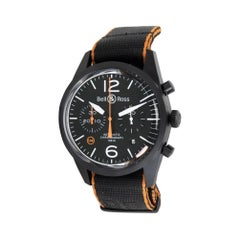 Bell & Ross Carbon Orange BRV126-O-CA, Black Dial, Certified and Warranty