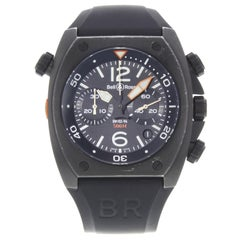 Bell & Ross Marine Carbon Ion-Plated Steel Automatic Mens Watch BR0294-CHR-BL-CA