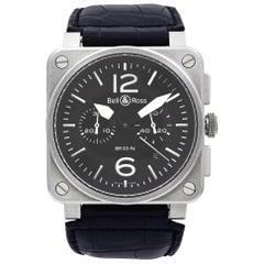Bell & Ross Phantom Chronograph Steel Black Dial Automatic Men's Watch BR03-94-S