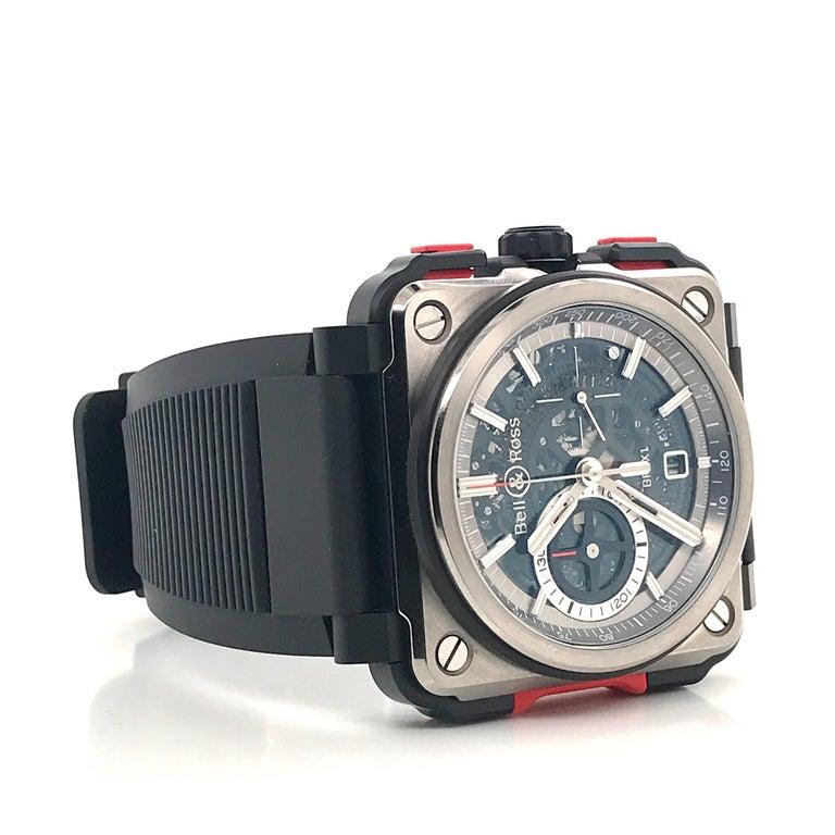 Modern Bell & Ross Titanium BR-X1 Ltd Ed Skeleton Chronograph Mechanical Wristwatch For Sale