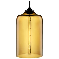 Bella Amber Handblown Modern Glass Pendant Light, Made in the USA