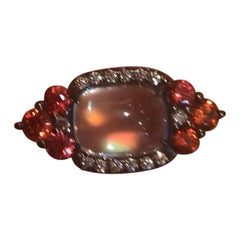 Bella Campbell/Campbellian Rainbow Moonsone Orange Sapphire Diamond Ring in Gold