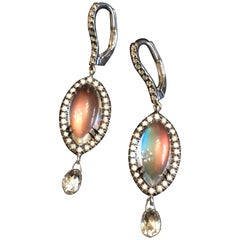 Bella Campbell/Campbellian Rainbow Moonstone Earrings with Diamond Briolette