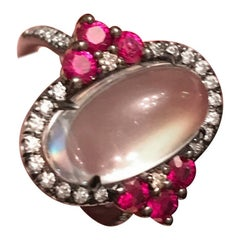 Bella Campbell/Campbellian Rainbow Moonstone with Ruby and Diamond Ring in Gold