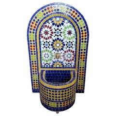 Bella Moroccan Mosaic Arched Fountain, All Glazed