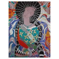 Bella The Beautiful Say Amen, Contemporary Mixed Media Figurative Painting