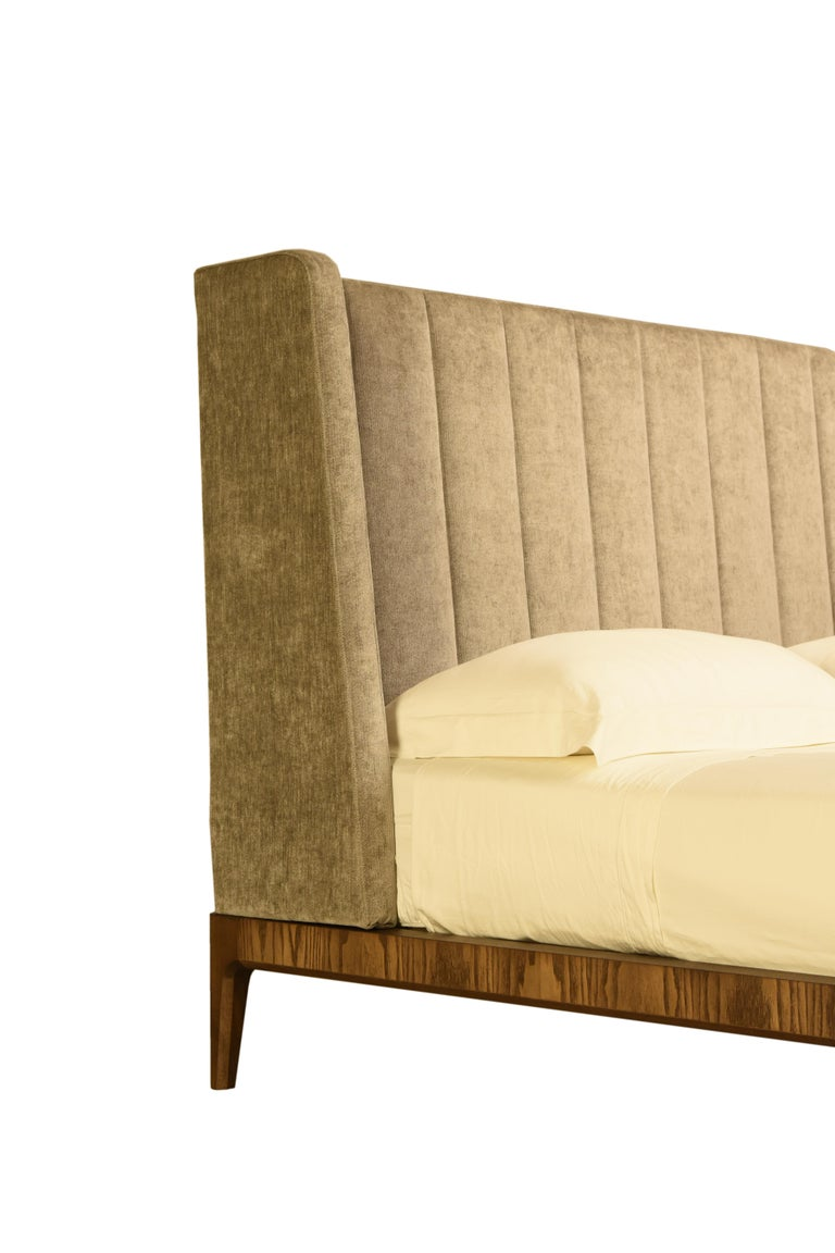 Italian Bellagio Contemporary Bed Made of Ashwood with Upholstered Headboard For Sale