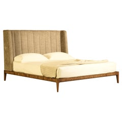 Bellagio Contemporary Bed Made of Ashwood with Upholstered Headboard