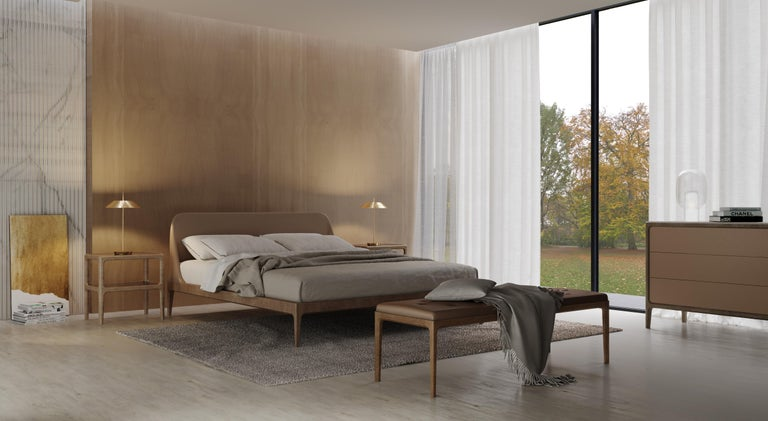 Bellagio contemporary bed made of ashwood with leather or fabric upholstered headboard. Available in different mattress sizes: 180 x 200 170 x 200 160 x 200 Wooden slats mattress support included.