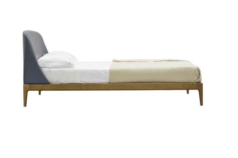 Italian Bellagio King Size Bed Made of Ashwood with Upholstered Headboard For Sale