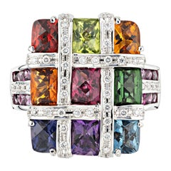 Bellari 4.94 Carat Multi-Color Gemstone Diamond White Gold Mosaic Cocktail Ring