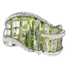 Bellari 5.95 Carat Peridot Diamond White Gold Cocktail Ring