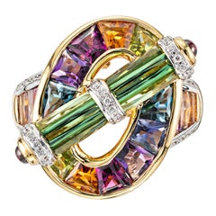 Bellari 6.07 Carat Tourmaline Diamond Yellow Gold Cocktail Ring