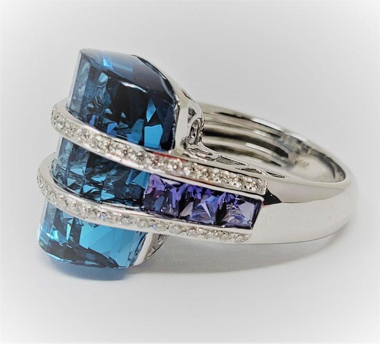 Mixed Cut Bellari Blue Topaz Iolite Diamond Ring in 18 Karat White Gold For Sale
