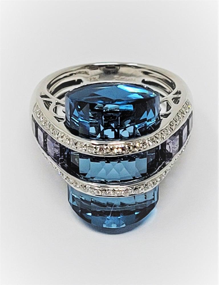 Women's or Men's Bellari Blue Topaz Iolite Diamond Ring in 18 Karat White Gold For Sale