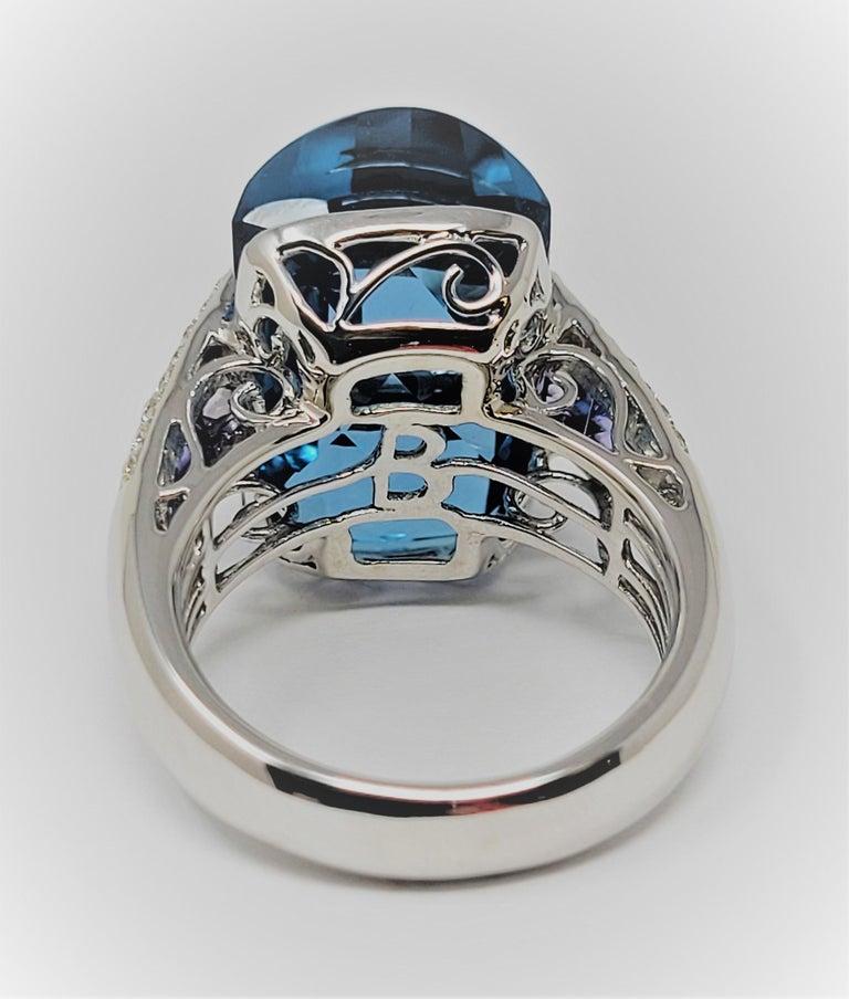 Bellari Blue Topaz Iolite Diamond Ring in 18 Karat White Gold For Sale 1