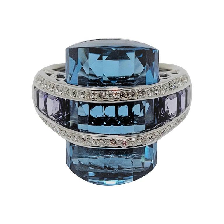 Bellari Blue Topaz Iolite Diamond Ring in 18 Karat White Gold For Sale