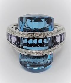 Bellari Blue Topaz Iolite Diamond Ring in 18 Karat White Gold